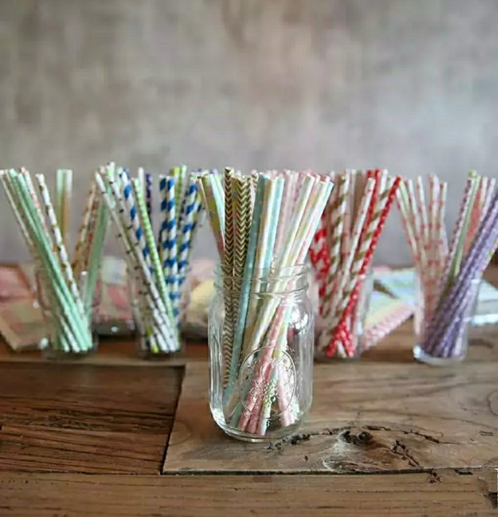 Paper straws in cups