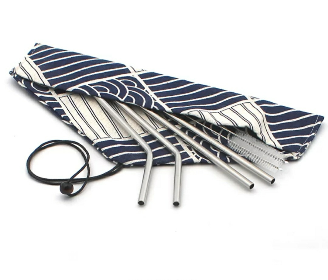 Steel straws in pouch