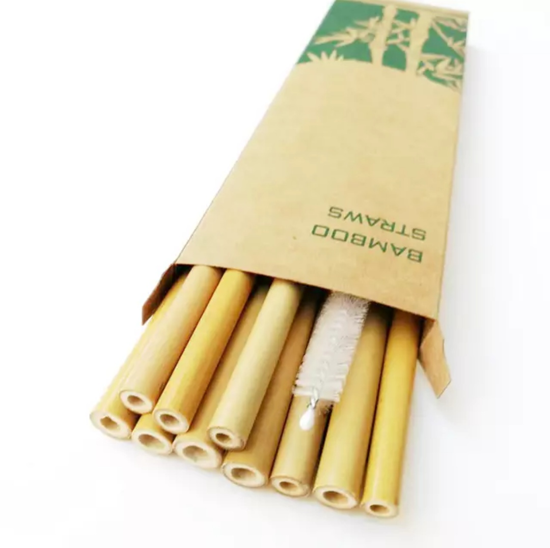 bamboo straws in box with cleaner